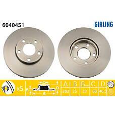 GIRLING 6040451 (8E0615301A / 8E0615301C / 562052J) диск тормозной VW Passat (Пассат) 1.6-2.8 10.96-04.98 / 1.8t 20v 00-05 передний d=282мм.