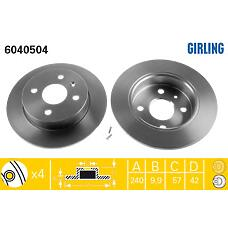 GIRLING 6040504 (569108 / 569111 / 9196587) диск тормозной Opel (Опель) Astra (Астра) 98- / Meriva (Мерива) 03-10 задний