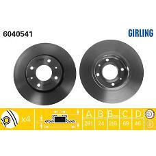 GIRLING 6040541 (30818027 / M818027 / 308180272) диск тормозной Mitsubishi (Мицубиси) Carisma (Каризма) 00-06 / Volvo (Вольво) s40 / v40 передний вент.d=281мм.