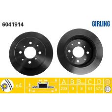 GIRLING 6041914 (42510SR3000 / 42510SR3J00 / 42510SR3G00) диск тормозной Honda (Хонда) Jazz (Джаз) 02- задний d=239мм.