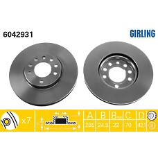 GIRLING 6042931 (569003 / 93171497 / 9156807) диск тормозной Opel (Опель) signum 03- / vectra 02- / Saab (Сааб) 9-3 02- передний вент.