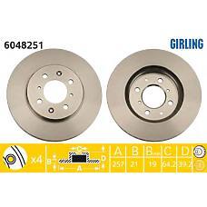 GIRLING 6048251 (45251SAAG50) диск тормозной Honda (Хонда) Jazz (Джаз) 1.2-1.4 04- передний d=258мм.