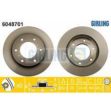 GIRLING 6048701 (MR407116 / MR407289 / 4615A061) диск тормозной перед. Mitsubishi (Мицубиси) Pajero (Паджеро) III  290x26mm