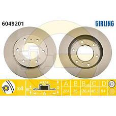 GIRLING 6049201 (MN102276 / 4615A147 / 4615A002T) диск тормозной Mitsubishi (Мицубиси) l200 05- передний вент.d=293мм.
