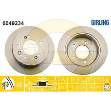 GIRLING 6049234 (584112H300 / 584113S000 / K584113S000) диск тормозной Hyundai (Хендай) Elantra (Элантра) 1.6 06- задний
