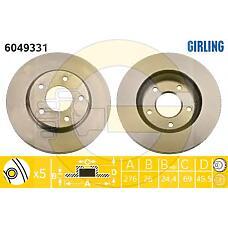GIRLING 6049331 (4615A115 / MN116329 / MN116330) диск тормозной Mitsubishi (Мицубиси) Lancer (Лансер) 08- / dodge caliber 06- передний вент.d=276мм.