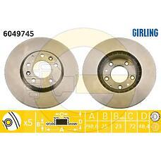 GIRLING 6049745 (G33Y3325X / G33Y3325XA / GV7D33251) диск тормозной Mazda (Мазда) 6 07> передний вент.