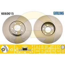 GIRLING 6060015 (34116756847) диск тормозной передний BMW (БМВ) x5(e53)