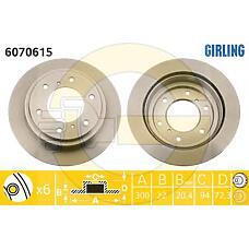 GIRLING 6070615 (MR418067) диск тормозной задний Mitsubishi (Мицубиси) Pajero (Паджеро) IV 300x22mm