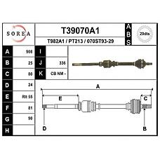 EAI T39070A1 (3273Y9 / 3273Y7 / 3272Y9) привод правый 905mm abs\ Peugeot (Пежо) 406 1.6-2.0 / d / td / 16v be3(r) 95>