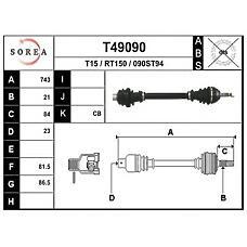 EAI T49090 (7701351267 / 7701349786 / 7700102132) привод правый 743mm\ Renault (Рено) 21 1.4-1.9 / d jb0 / 1 / 3 86>