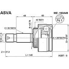 ASVA ME-163A48 (1633300401 / 1633300501 / 16333004011633300501) шрус наружный 26x79x30