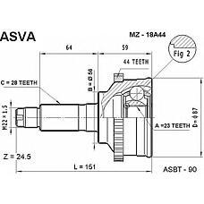 ASVA MZ-18A44 (GJ012560XB / G5682560XA / G5682550XA) шрус наружный 23x56x28