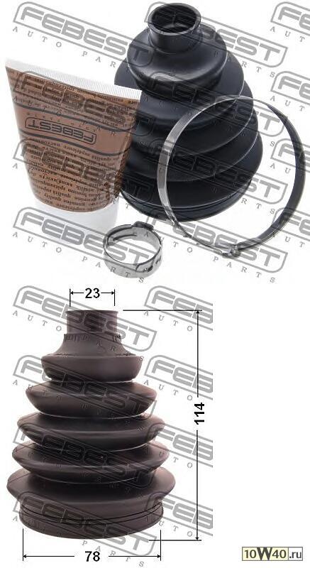 пыльник шрус наружный (78x114x23) комплект (nissan micra march k12 2002-) febest