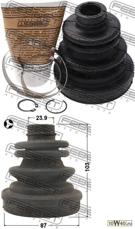 пыльник шрус внутренний (87x103x23 9) комплект (chevrolet lacetti / optra (j200) 2003-2008) febest