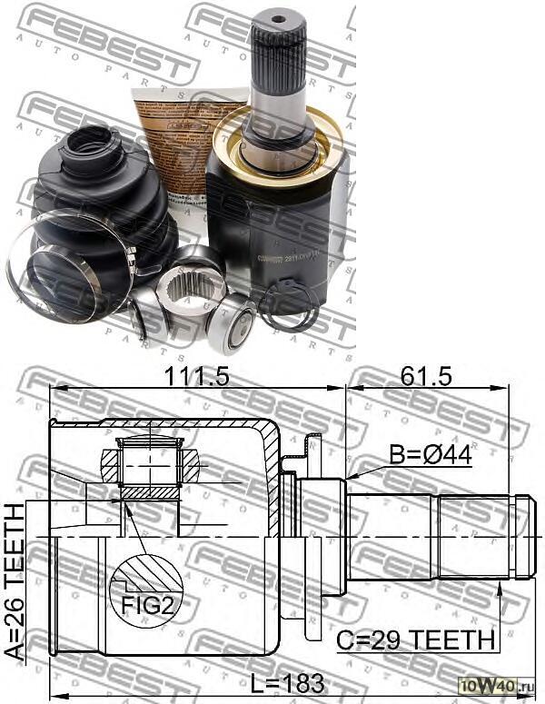 шрус внутренний левый 26x44x29 land rover discovery III 2005-2009