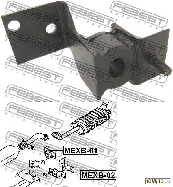 подушка крепления глушителя (mitsubishi pajero II v14w-v55w 1991-2004) febest
