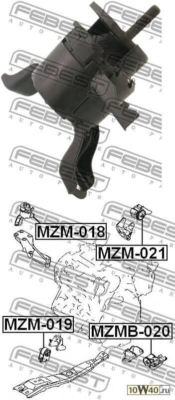 подушка двигателя правая (mazda mpv lw 1999-2006) febest