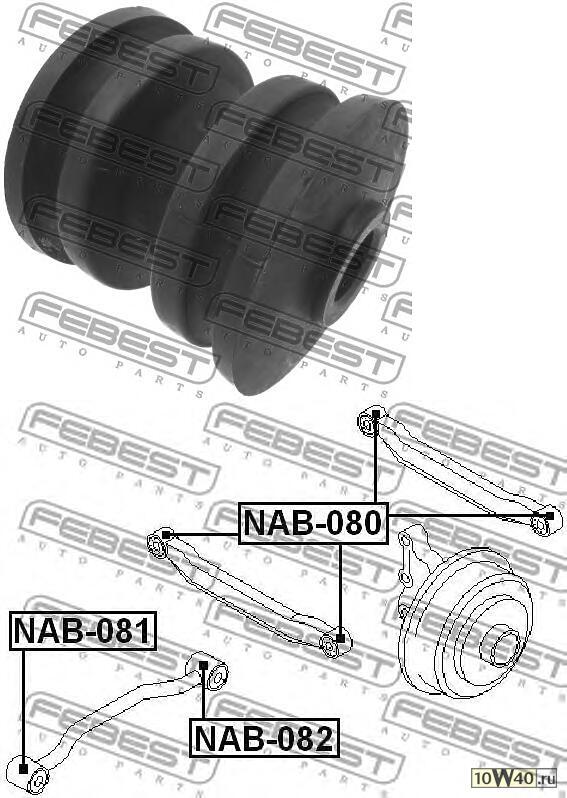 сайленблок задний заднего продольного рычага (nissan primera p12 2001-2007) febest