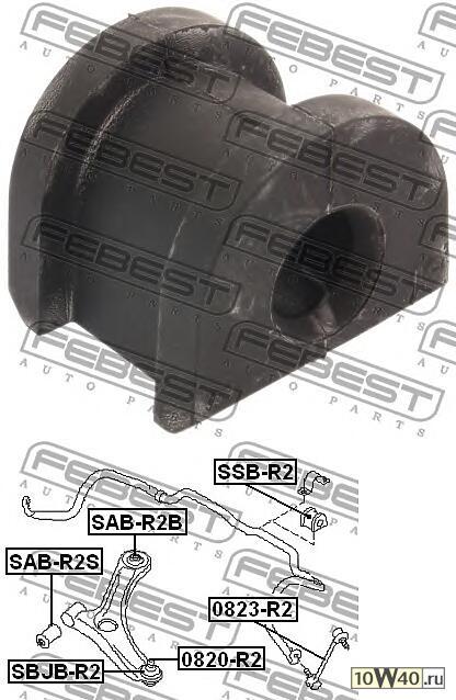 втулка переднего стабилизатора d16 (subaru impreza g11 2000-2007) febest