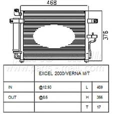 PARTS-MALL PXNCA-076 (9760625600) радиатор кондиционера