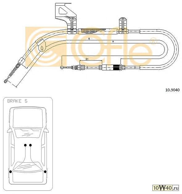 Трос стояночного тормоза SKODA SUPER B 02>08 левый