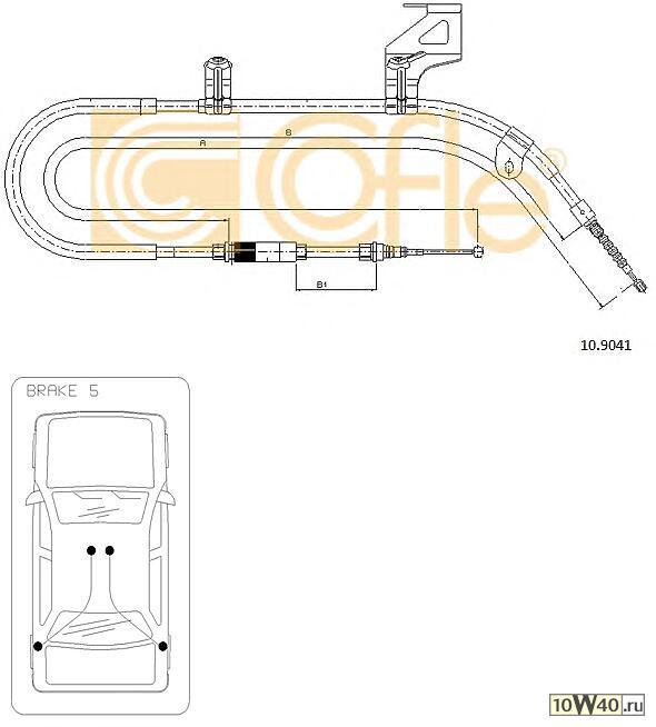 Трос стояночного тормоза SKODA SUPER B 02>08 правый